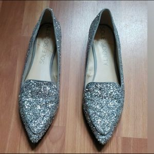 Sole society silver glitter pointy loafer slipper